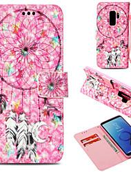 baratos -Capinha Para Samsung Galaxy S9 Plus / S9 Carteira / Porta-Cartão / Com Suporte Capa Proteção Completa Apanhador de Sonhos Rígida PU Leather para S9 / S9 Plus / S8 Plus