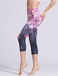 cheap -Women's Yoga Pants - Blue, Pink Sports Floral / Botanical, Sexy 3/4 Tights / Tights / Leggings Activewear Trainer, Dancing, Yoga Stretchy