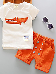 Недорогие -Дети (1-4 лет) Мальчики Универсальные Однотонный Контрастных цветов С короткими рукавами Набор одежды