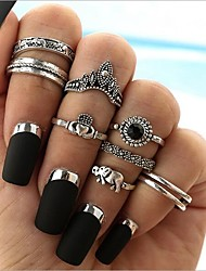 cheap -Women's Geometric Band Ring / Ring Set - Alloy Elephant, Heart Vintage, Bohemian, Boho 5 Silver For Gift / Holiday
