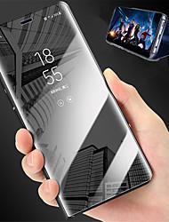 Недорогие -Кейс для Назначение Xiaomi Redmi 5 Plus / Redmi 5 со стендом / Зеркальная поверхность Чехол Однотонный Твердый Кожа PU для Xiaomi Redmi