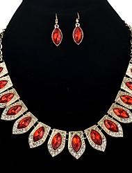 baratos -Mulheres Caído Conjunto de jóias 1 Colar / Brincos - Oversized / Étnico Forma Geométrica Roxo / Vermelho / Azul Conjunto de Jóias Para