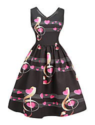 3560eb0473a0 Dame I-byen-tøj Vintage   Gade Tynd A-linje Kjole - Geometrisk