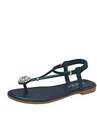 baratos -Mulheres Sapatos Courino Verão Tira em T Sandálias Sem Salto Ponta Redonda Pérolas para Ao ar livre / Escritório e Carreira Preto / Verde
