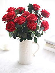 baratos -Flores artificiais 10 Ramo Casamento / buquês de Noiva Rosas / Flores eternas Flor de Mesa