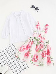 cheap -Girls' Solid Floral Clothing Set, Cotton Polyester Spring Fall Long Sleeves Party/Evening Dresses Sweet Style Outfits Leisure Ruffle White