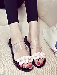 baratos -Mulheres Sapatos Couro Ecológico Verão Conforto Chinelos e flip-flops Sem Salto para Ao ar livre Preto / Rosa claro