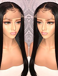 cheap -Remy Human Hair Lace Front Wig Brazilian Hair Straight With Ponytail 130% Density With Baby Hair / With Bleached Knots / Unprocessed