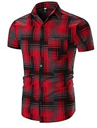 cheap -Men's Basic Shirt - Plaid Black & Red