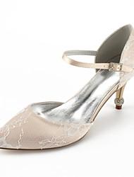 baratos -Mulheres Sapatos Renda Verão D'Orsay / Conforto Sapatos De Casamento Salto Cone Dedo Apontado Pedrarias para Casamento / Festas & Noite