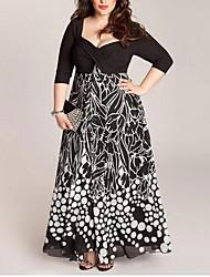 Недорогие -Жен. С летящей юбкой Платье - Горошек / Контрастных цветов Макси