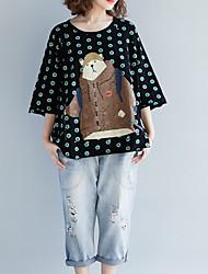 abordables -Mujer Algodón Camiseta Corte Ancho A Lunares