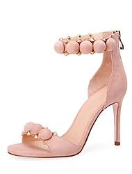 baratos -Mulheres Sapatos Courino Verão D'Orsay Sandálias Salto Agulha Dedo Aberto Vermelho / Rosa claro / Vinho / Festas & Noite