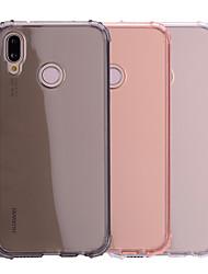 baratos -Capinha Para Huawei P20 lite P20 Antichoque Translúcido Transparente Capa traseira Sólido Macia TPU para Huawei P20 lite Huawei P20