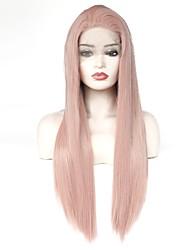 billige -Syntetisk Lace Front Parykker Lige Frisure i lag 150% Menneskelige hår tæthed Syntetisk hår Varme resistent / Elastisk / Dame Rose Lyserød Paryk Dame Lang Blonde Front Rose Guld