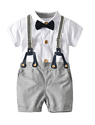 cheap -Baby Boys' Solid Colored / Color Block / Houndstooth Short Sleeve Clothing Set