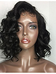 cheap -Synthetic Wig / Synthetic Lace Front Wig Curly Side Part 150% Density Synthetic Hair Heat Resistant / Natural Hairline / African American Wig Black / Dark Brown Wig Women's Short Lace Front Wig / Yes
