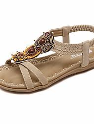 Недорогие -Жен. Обувь Полиуретан Лето Удобная обувь Сандалии На плоской подошве Черный / Миндальный