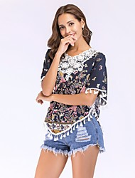 abordables -Mujer Borla / Ajuste de encaje Blusa Floral / Geométrico Mariposa