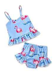cheap -Kids / Toddler / Newborn Girls' Flamingos Print Sleeveless Swimwear