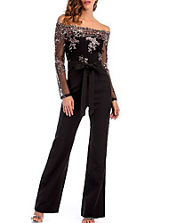 cheap -Women's Basic / Street chic Romper - Solid Colored / Color Block, Sequins