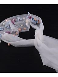 Недорогие -Четыре слоя Мода / Богемный Свадебные вуали Фата до локтя с Лепестки / Вышивка бисером в виде цветов / Отделка 59,06 В (150см) Тюль / Прямая
