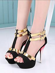 baratos -Mulheres Sapatos Micofibra Sintética PU / Couro Ecológico Primavera Verão Plataforma Básica / D'Orsay Sandálias Plataforma Peep Toe