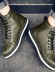 baratos -Homens sapatos Couro Ecológico Inverno Conforto / Coturnos Botas Botas Curtas / Ankle Preto / Laranja / Verde Escuro