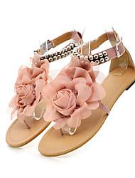 abordables -Femme Chaussures Similicuir Printemps été Confort Sandales Talon Plat Bout ouvert Billes / Fleur en Satin Bleu / Rose dragée clair /