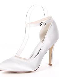 preiswerte -Damen Schuhe Satin Frühling Sommer Pumps Hochzeit Schuhe Stöckelabsatz Peep Toe Imitationsperle Königsblau / Champagner / Elfenbein