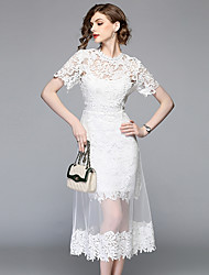 cheap -Women's Vintage / Street chic Petal Sleeves A Line Dress - Solid Colored / Floral / Geometric Lace / Cut Out / Tassel