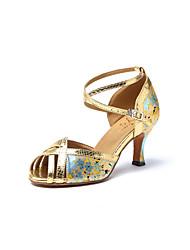 cheap -Women's Latin Shoes Faux Leather Sneaker Satin Flower Cuban Heel Dance Shoes Gold / Practice