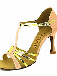 cheap -Women's Latin Shoes / Salsa Shoes Satin / Leatherette Sandal / Heel Buckle / Ribbon Tie Customized Heel Customizable Dance Shoes Bronze / Almond / Nude / Performance / Professional
