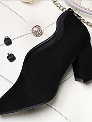 お買い得  -女性用 靴 合成マイクロファイバーPU 春 コンフォートシューズ ヒール チャンキーヒール ポインテッドトゥ のために アウトドア ブラック / ベージュ