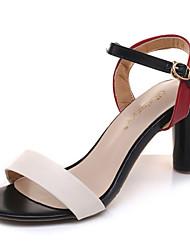 Недорогие -Жен. Обувь Полиуретан Лето Удобная обувь Сандалии На толстом каблуке Круглый носок Бежевый / Синий