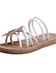 Недорогие -Жен. Обувь Дерматин Лето Удобная обувь Тапочки и Шлепанцы На плоской подошве Круглый носок Белый / Черный / Зеленый