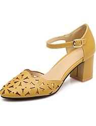 Недорогие -Жен. Обувь Дерматин Лето Удобная обувь / Туфли лодочки Обувь на каблуках На толстом каблуке Заостренный носок Желтый / Синий / Розовый
