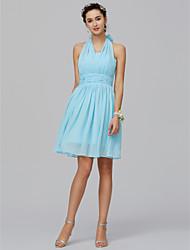 economico -Linea-A All'americana Corto / mini Chiffon Vestito da damigella con Con ruche di LAN TING BRIDE®