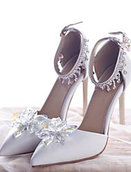 economico -Per donna Scarpe PU (Poliuretano) Estate Decolleté scarpe da sposa A stiletto Appuntite Con diamantini / Cristalli / Fibbia Bianco