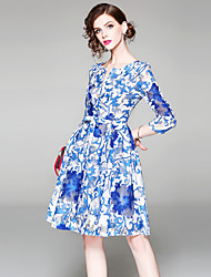 cheap -Women's Going out Vintage / Sophisticated Puff Sleeve Slim A Line / Swing Dress - Floral / Geometric Blue & White, Bow / Mesh / Print