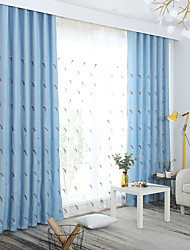 cheap -Curtains Drapes Bedroom Floral Linen / Polyester Blend Embroidery