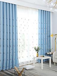 preiswerte -Vorhänge drapiert Schlafzimmer Blumen Leinen-Polyestergewebe Stickerei