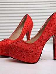 abordables -Femme Chaussures Polyuréthane Printemps été Escarpin Basique Chaussures à Talons Talon Aiguille Bout rond Strass Blanc / Rouge / Mariage