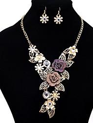 Недорогие -Комплект ювелирных изделий - Цветы европейский, Этнический Включают Лиловый Назначение Официальные / Карнавал / Серьги