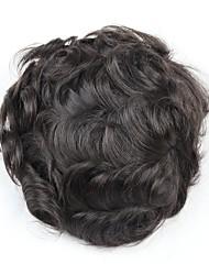 Недорогие -Муж. Натуральные волосы Накладки для мужчин Волнистый Мягкость / удобный / 100% ручная работа