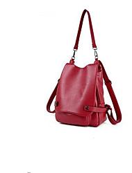 baratos -Mulheres Bolsas couro legítimo mochila Botões / Ziper Preto / Vermelho / Cinzento