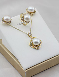 baratos -Mulheres Chapeado Dourado / S925 Sterling Silver / Pérolas de água doce Flor Conjunto de jóias 1 Anél / Brincos / Pingente 1PC - Clássico