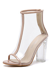 povoljno -Žene Cipele Eko koža / PU / PVC Proljeće ljeto Čizmice / Modne čizme Čizme Kristalna peta Otvoreno toe Čizme do pola lista Ušivena čipka