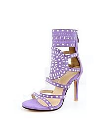 baratos -Mulheres Sapatos Flanelado Verão Conforto Sandálias Salto Agulha Dedo Aberto Preto / Roxo / Marron / Festas & Noite
