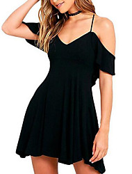 cheap -Women's Going out Street chic Slim Sheath Dress - Solid Colored High Waist Strap / Off Shoulder / Summer